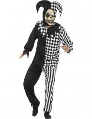 Disfarce de bobo da corte diabólico preto e branco homem Halloween