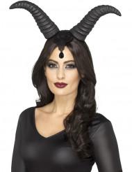 Chifres rainha diabólica mulher Halloween