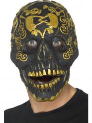 Máscara cabeça de morto preta e dourada para adulto Halloween