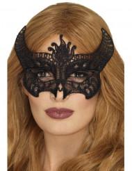 Mascarilha em renda preta diabinha mulher Halloween
