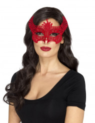 Mascarilha de renda vermelha diabo mulher Halloween