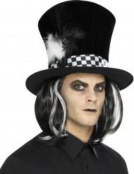 Chapéu alto preto com cabelos adulto