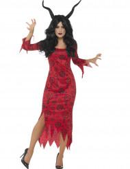Disfarce diabo vermelho mulher Halloween