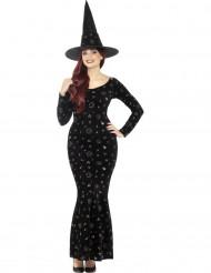 Disfarce bruxa magia negra mulher Halloween
