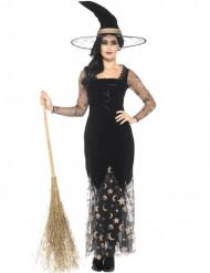 Disfarce bruxa lua e estrela mulher Halloween