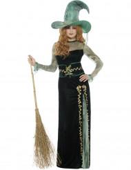 Disfarce  bruxa verde mulher Halloween