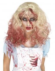 Peruca loura sangrenta mulher Halloween