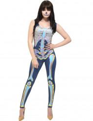 Disfarce macacão esqueleto colorido mulher Halloween