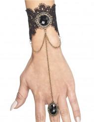 Pulseira com anel gótico preto mulher