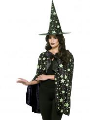 Kit bruxa da meia-noite fosforescente mulher Halloween