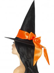 Chapéu preto com laço cor de laranja mulher Halloween