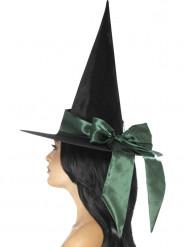 Chapéu preto com laço verde mulher Halloween