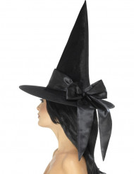 Chapéu preto com laço preto mulher Halloween