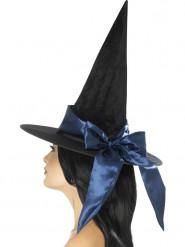 Chapéu preto com laço azul mulher Halloween