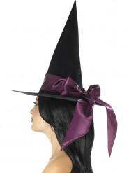 Chapéu preto com laço lilás mulher Halloween