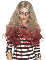 Peruca comprida loura sangrenta mulher Halloween