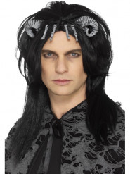 Peruca preta criatura demoníaca adulto Halloween