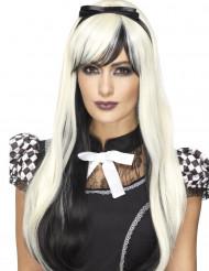 Peruca comprida preta e branca com bandolete resistente ao calor mulher