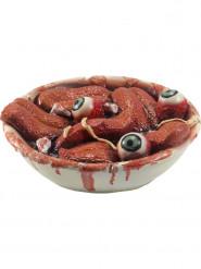 Decoração recipiente com línguas e olhos Halloween