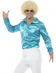 Camisa acetinada azul homem
