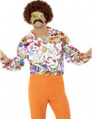 Camisa acetinada hippie anos 60