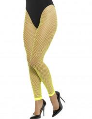 Collants rede sem pés amarelo fluo mulher