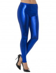 Legging metalisado azul adulto