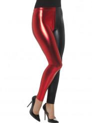 Legging metalisado preto e vermelho mulher