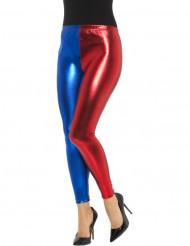Legging metalisado azul e vermelho mulher