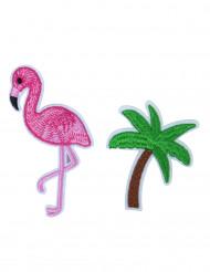 2 Crachás Flamingo rosa e palmeira