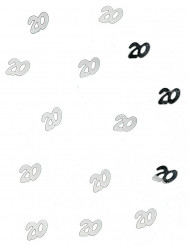 Confetis de mesa 20 anos prateados