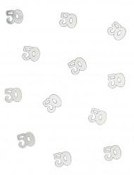 Confetis de mesa 50 anos prateados