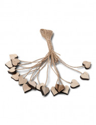 16 Corações de madeira com cordel