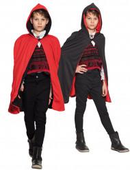 Capa reversível vermelha e preta criança Halloween