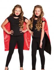Capa preta e vermelha criança Halloween