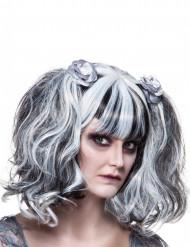 Peruca gótica branca e preta mulher