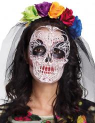 Máscara e bandolete colorida mulher Dia de los muertos
