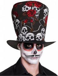 Chapéu alto caveira e rosas vermelhas adulto Dia de los muertos