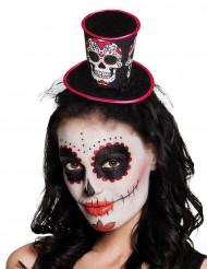 Mini chapéu alto mulher Dia de los muertos