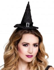 Mini chapéu bruxa preto mulher Halloween