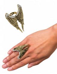 Anel dourado asas de anjo adulto