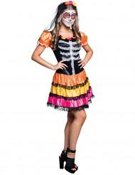 Disfarce esqueleto colorido adolescente Dia de los muertos