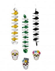 3 decorações suspensas esqueletos coloridos 60 cm Dia dos Mortos