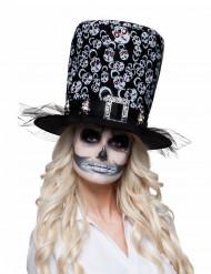 Chapéu alto esqueleto adulto Halloween