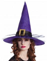 Chapéu de bruxa veludo lilás adulto Halloween
