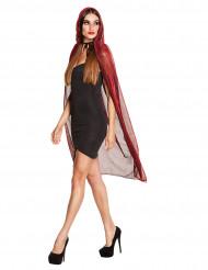 Capa vermelha brilhante com capuz mulher Halloween
