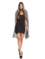 Capa prateada brilhante com capuz mulher Halloween