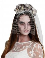 Bandolete com véu branco zombie mulher Halloween
