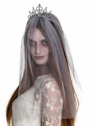 Diadema com véu noiva zombie mulher Halloween