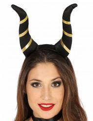 Bandolete Chifres diabólicos pretos mulher Halloween